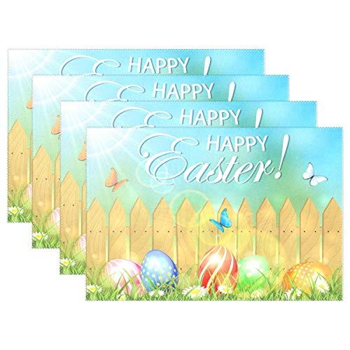 ZDMAHCC Pasen met Hek en Eieren Lente Patroon Placemats voor Eettafel Hittebestendige Keuken Tafel Decor Wasbare Tafelmatten Set van 6