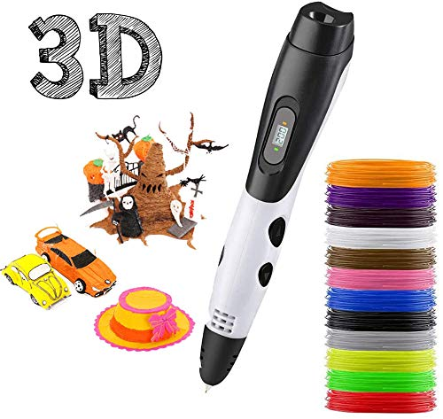 3D Pen, 3D Printing Pen with 12 Colors PLA Filament, 3D Drawing Pen with LCD Screen, 3D Printing Pen Creative DIY Gift, Best Birthday Holiday Gifts Toys to Inspire Kids Teens Creativity