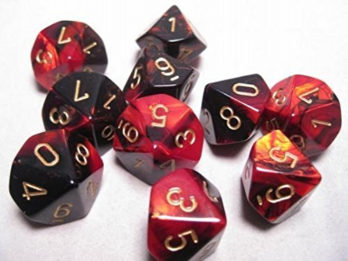 Chessex Dice Sets: Gemini Black & Red with Gold - Ten Sided Die d10 Set (10)