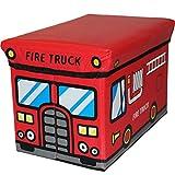 2IN1 Sitzbank und Staubox/Spielzeugbox/Aufbewahrungsbox/Spielzeugkiste für Baby/Kinder (Feuerwehr)