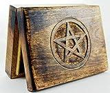 Wooden Tarot Card Box With Engraved Pentagram (17x13cm)