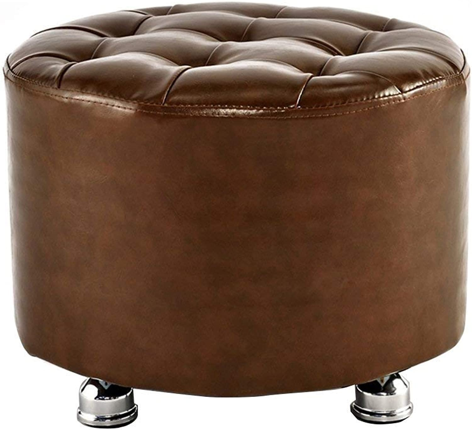 ChenDz Cute Stool Leather Stool Creative Sofa Stool Living Room Leather pier Small Bench Dressing Stool shoes Bench Solid Wood Stool seat Living Room Corridor Application (color   Coffee)