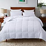DOWNCOOL Down Alternative Quilted Comforter- White Lightweight Duvet Insert or Stand-Alone Comforter with Corner Duvet Tabs, Queen 88x92 Inches