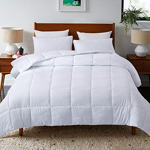 DOWNCOOL Down Alternative Quilted Comforter- White Lightweight Duvet Insert or Stand-Alone Comforter with Corner Duvet Tabs, Full/Queen 88x88Inches