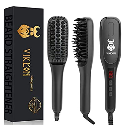 Beard Straightener for Men, Heated Beard Straightening Comb for Home and Travel, Ionic Electric Hot Beard Brush Portable&Lightweight/Anti-Scald/Mini-sized/Dual Voltage 110-240V/25 Temp Modes