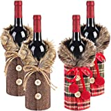 Tanlee 4 Pieces Christmas Sweater Wine Bottle Covers Plaid Wine Bottle Clothes Linen Wine Bottle Dress With Faux Fur Collar And Button Coat Design Wine Bottle Bags For Xmas Party Decorations (4)