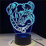 Solo 1 pieza Niños Bebé Regalo 3D Illuision Pet Dog Lámpara Bull Terrier Luz de noche LED Lámpara de mesa decorativa creativa