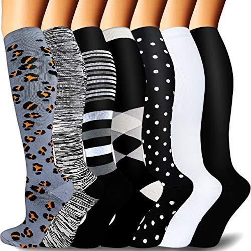 7 pares de calcetines de compresión de cobre para mujeres y hombres, calcetines de compresión graduados médicos, ideales para correr, embarazo, viajes, lactancia, 20-30 mm, negro/blanco/gris, pequeño-mediano