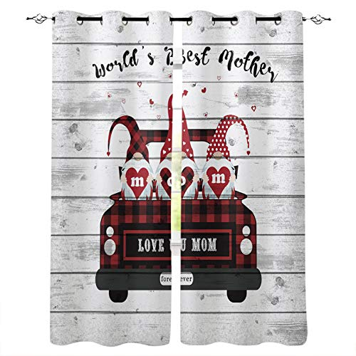 """Love You Mom World's Best Mother Cute Gnomes with Car Luxury Darkening Curtains 2 Window Curtain Panels for Home Bedroom Decoration 40""""x63"""" Blackout Curtains Window Draperies for Living Room"""