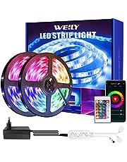 Weily Ledstrip, 15 m, wifi, RGB, met afstandsbediening, kleurverandering, SMD 5050 leds, sync voor muziek, compatibel met Alexa app, bediening voor slaapkamer, feest en vakantiedecoratie