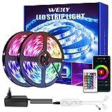 Tiras LED WIFI, 15M Luces LED SMD5050 RGB con 450 LEDs, Control de APP y Remoto Control, Sync con Música, 4 Modos de Brillo y 16 Colores