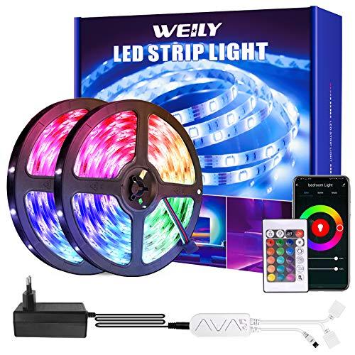 LED Strip 15m, WEILY WiFi RGB LED Light Streifen mit Fernbedienung, Farbwechsel SMD 5050 Leds sync zur Musik, patibel mit Alexa APP Steuerbar, Anwendung für Schlafzimmer, Party und Feriendekoration
