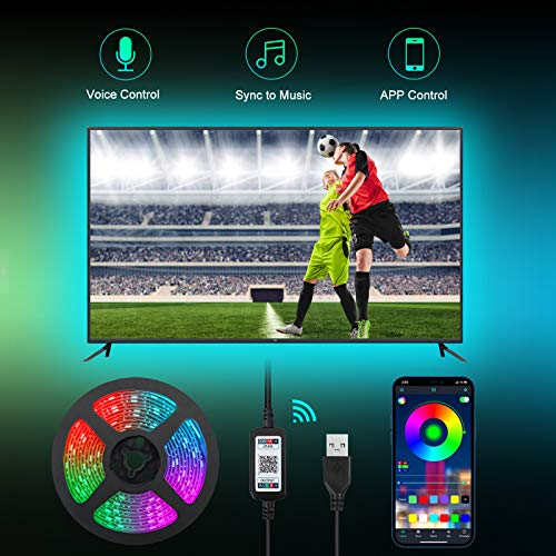 TV Hintergrundbeleuchtung 3M USB RGBW LED Streifen für 32-60 Zoll Fernseher und PC Dimmbar Android iOS App-Steuerung, Synchronisierung mit Musik 28 Modi Weihnachten Deko [Energieklasse A+]
