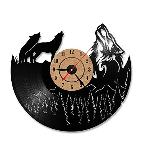 SKYTY Hollow Wolf Modelo Vinyl Record Clock Unique Vintage Dormitorio Decoración De Pared Ideas De Regalo Hombres Y Mujeres Cool Quartz Antique Led Relojes-with led Light