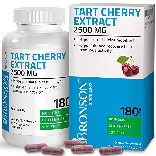 Bronson Tart Cherry Extract 2500 mg Vegetarian Capsules with Antioxidants and Flavonoids Non-GMO, 180 Count