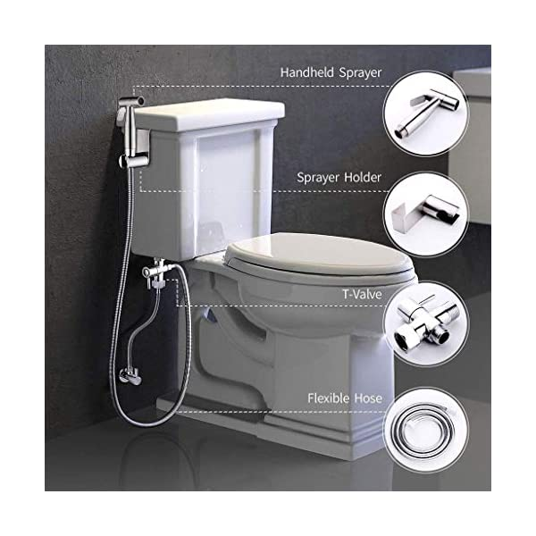 Luxe Handheld Cloth Diaper Sprayer Toilet Attachment Kit with Pressure Control Durable Stainless Steel