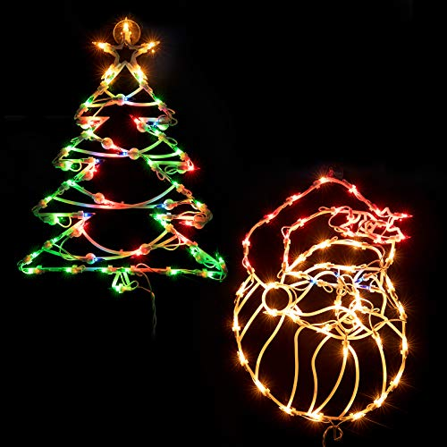 16 Inch Christmas Window Silhouette Lights Decorations, Pack of 2 Lighted Santa Claus and Xmas Trees Window Silhouette with 100 Bulbs for Holiday Indoor Wall Door Glass Decorations