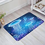 Anmevor Indoor Doormat Welcome Mats, 16 x 24 Inch Non Slip Soft Absorbent Low-Profile Floor Rug for Entryway,Front/Back Door, Fantasy Undersea World of Jellyfish Coral and Seahorses