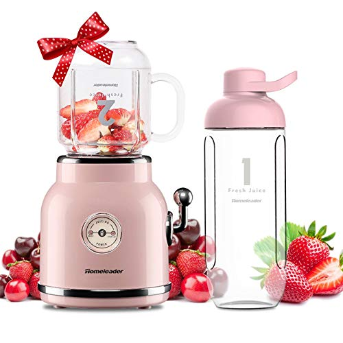 Smoothie Blender, Homeleader Personal Blender for Shakes and Smoothies, Portable Blender with 6 Sharp Blades, 21oz Travel Cup and Lids, Pink Massachusetts