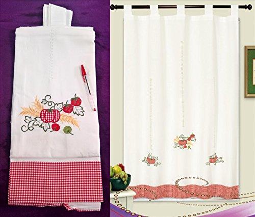 """ForenTex - Cortina, visillo de cocina, (AL-1031), bordada, clásica de las de toda la vida, Bordados de Frutas y Encaje Floral decorativo, máxima calidad y muy duradera. No te dejes engañar por las cortinas de calidad """"todo a 100"""". 1-4 cortinas paga solo un envío, descuento equivalente al finalizar la compra. (150 x 180 cm, A-1031)"""