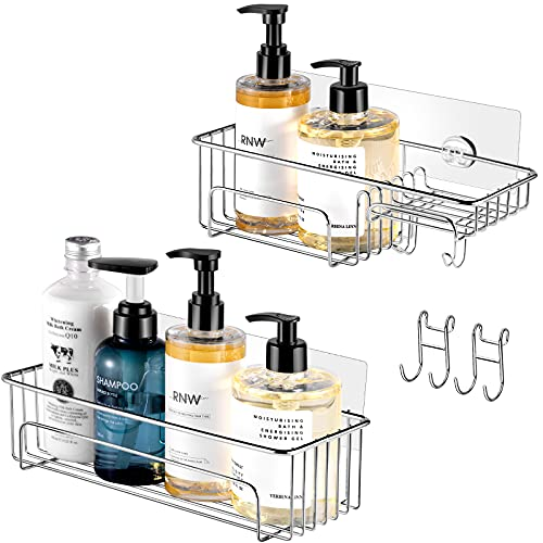 Shower Shelf Basket with Soap Holder for Bathroom, No Drilling Mounted by Adhesive, Nuokim Rustproof and Waterproof Caddies (2 Pack)