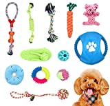 Adurei 12 Juguetes para Perros Pequeños Juguete Cachorros Masticar Cuerda 100% Algodón Natural Prevención del Aburrimiento Limpieza y Entrenamiento de Dientes(12 Piezas)