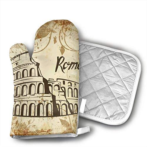 LCYYDECO Roma Coliseo Guantes de Horno de Cocina Guantes de Horno con Forro de algodón para Barbacoa Juego de Cocina Hornear Parrilla Barbacoa Microondas Ma