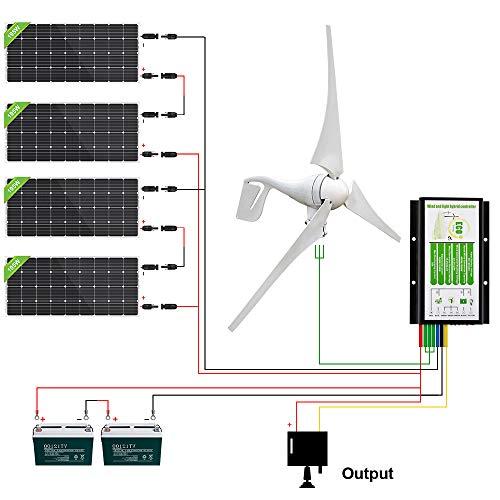 ECO-WORTHY 1000W 1KW Offgrid Windkraft und Solarstromanlage - 4 X 150W Mono 12V Solarmodul Solarpanel + 400W Windkraftanlage Windgenerator Windkraftgenerator Ideal zum Aufladen von 24V Batterien