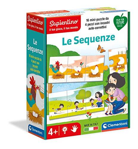 Clementoni Sapientino Le sequenze Gioco educativo 4 Anni (Versione in Italiano), Cartone 100% Riciclato, Play for Future Made in Italy, Multicolore, 16311