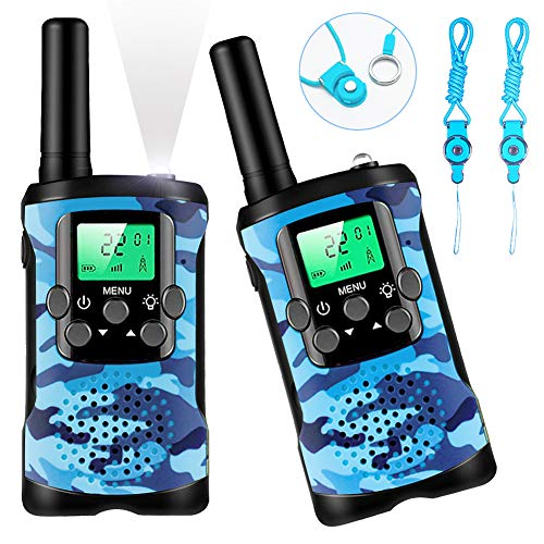 Kids Toys, Camouflage Walkie Talkies for Kids, 22 Channels 2 Way Radio Cover 3 KMs Range with Backlit LCD Screen Flashlight, Best Gifts Toys for 3-12 Year Old Outside Adventures, Camping, Hiking