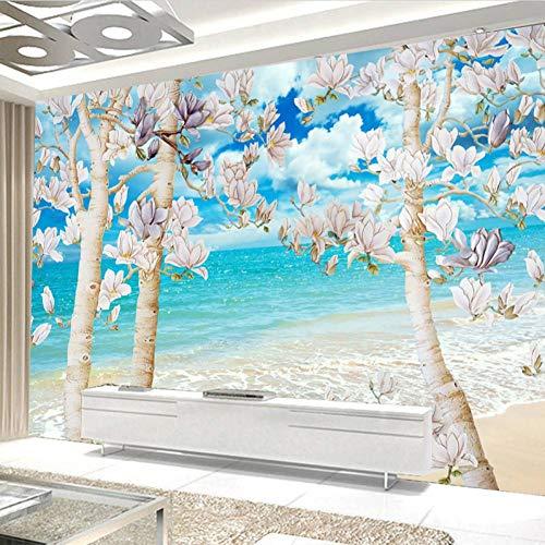 TPFEI Benutzerdefinierte 3D Fototapete Großes Wandbild Blauen Himmel Weißes Meer Magnolienbaum Schlafzimmer Wohnzimmer Sofa Tv Dekorative Tapete