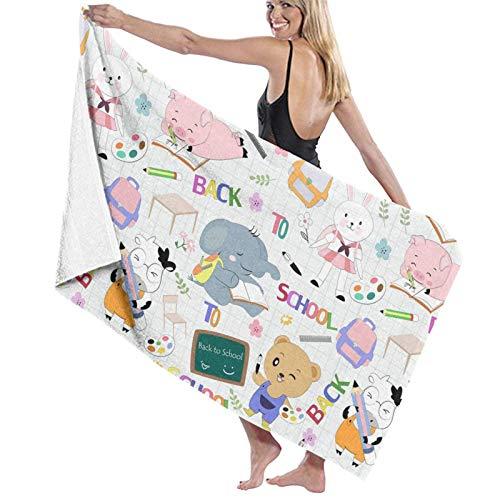 Jupsero Lindo animal de vuelta a la escuela Fibras toallas multiusos gran toalla de baño/toalla de playa/toalla de baño