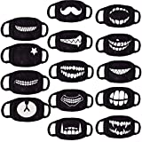 6 Pack Random Pattern Cotton Anime Unisex Cotton Blend Anti Dust Face Black for Man Woman Kids (Only fit Over 9 Years Old)