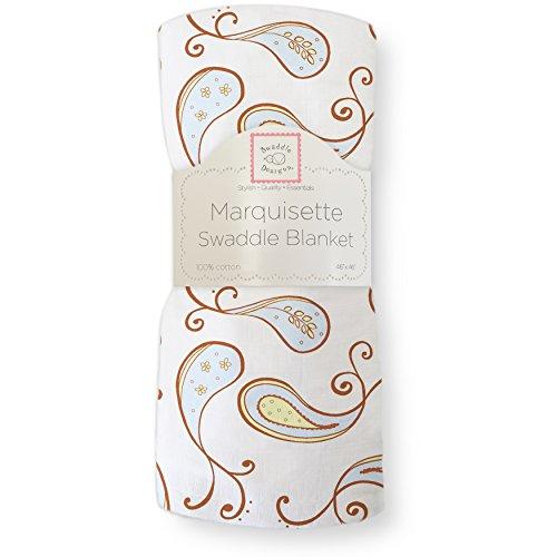 SwaddleDesigns Marquisette Swaddling Blanket, Premium Cotton Muslin, Pastel Blue Paisley