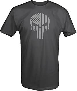 One Stop Gear American Flag Vertical Tactical Military Punisher Skull T Shirt