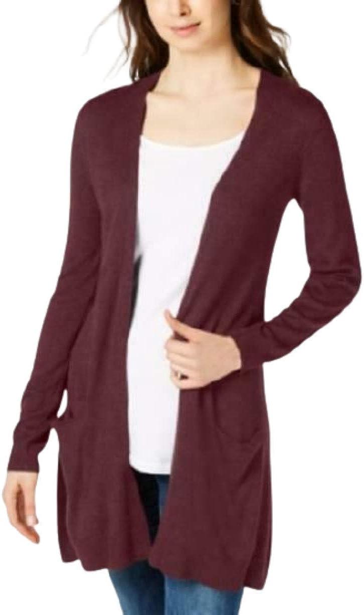 Maison Jules Long Open-Front Jersey Cardigan Sweater Ruby Wine XL