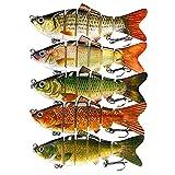 DOUBFIVSY Señuelos de Pesca, Multi Articulado Cebos de Pescar Artificiales, Swimbait Señuelos Articulados con Anzuelos, Señuelos Spinning para Calamar Lubina Río Mar (5PCS)