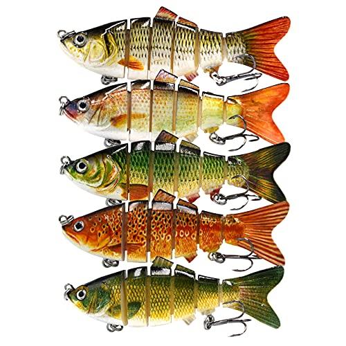 """DOUBFIVSY 5 Señuelos de Pesca, 3.9"""" Multi Articulado Cebos de Pescar Artificiales, Swimbait Señuelos Articulados con Anzuelos, Señuelos Spinning para Calamar Lubina Río Mar"""
