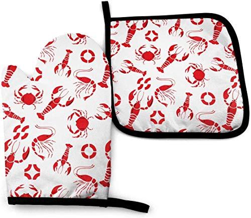 MODORSAN Exotische Tier-Zebra-Ofenhandschuhe und Topflappen-Sets Hitzebeständiges Küchen-Polyester-Set zum Kochen, Backen, Grillen-Hummer-Krabben