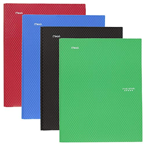"""Five Star 2-Pocket Folder,Stay-Put Folder, Plastic Colored Folders with Pockets and Prong Fasteners for 3-Ring Binders,For Home School Supplies and Office,11"""" x 8-1/2"""",Assorted,4 Pack (38048)"""