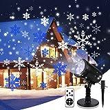 Proiettore Luci Natale con Fiocco di Neve, Proiettore Natale Esterno ed Interno IP65 con Telecomando,Decorazioni Natalizie per la Casa,Adatto per Natale,Compleanno, Capodanno