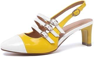 BalaMasa Womens ASL06066 Pu Block Heels