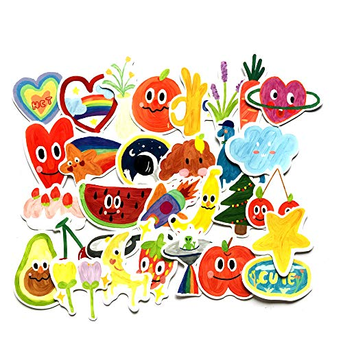 JZLMF Pegatinas de acuarela para niños, diseño de grafiti, 30 dibujos animados