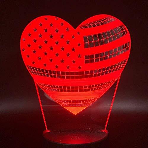 Led Night Light Heart-Shaped Amerikaanse vlag is het meest geschikt voor kinderen om te laten zien 7 kleur banden voor interieur 3D Illusion Night Light