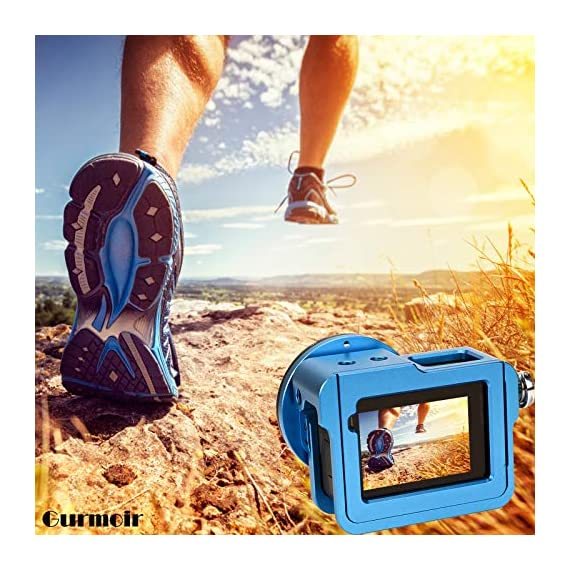 """Gurmoir Case Aluminum Alloy Back Door Housing Frame for Gopro Hero 8 Black Action Camera, Wire connectable Protective… 3 This Aluminum Housing Designed for Gopro Hero 5/Gopro HERO (2018) Action Camera, Blue Make Your Gopro More Unique Your Gopro camera will be more safety during high-velocity sport or daily using. No more worries about the camera will falling out. you can just enjoy your shooting time with 1/4 inch screw hole. the case can compatible with any 1/4"""" tripod. or you can DIY your kit. Sides open allow quick connect of cables. with the Cold Shoe, you can mount a flash, video light, microphone on the top of this case"""