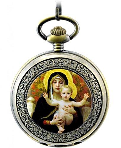 Unendlich U Christentum Madonna Maria und Jesus Retro Handaufzug Mechanische Taschenuhr Hohle Skelett Kettenuhr Pullover Halskette Bronze