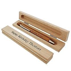 Holz-Kugelschreiber im schicken Etui mit persönlicher Gravur als individuelle Geschenkidee zu Weihnachten