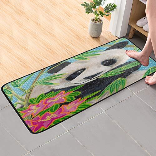 CaTaKu Vintage Tier Panda Bambus Teppich 99,1 x 50,8 cm Polyester Bereich Teppich rutschfest Boden Teppich Läufer waschbar Teppich Matte für Küche Esszimmer Zuhause dekorativ