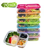 Meal Prep Containers 3 Compartment Food Storage Containers Microwave Dishwasher Freezer Safe (7...