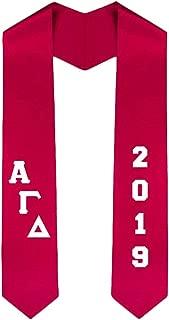 Custom Alpha Gamma Delta Greek Diagonal Lettered Graduation Sash Stole With Year